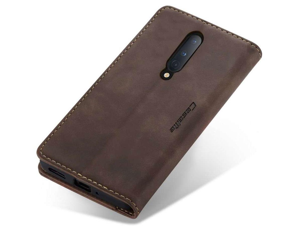 CaseMe Vintage BookCase Bruin - OnePlus 8 hoesje