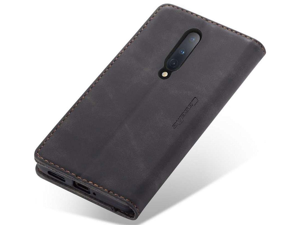 CaseMe Vintage BookCase Zwart - OnePlus 8 hoesje