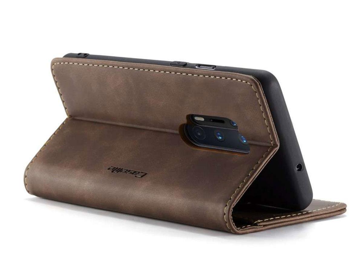 CaseMe Vintage BookCase Bruin - OnePlus 8 Pro hoesje