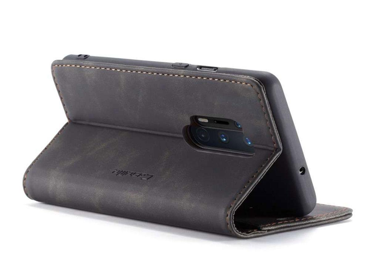 CaseMe Vintage BookCase Zwart - OnePlus 8 Pro hoesje