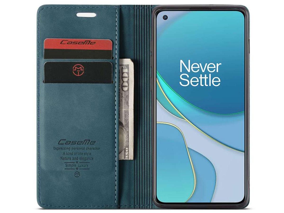 CaseMe Vintage BookCase Blauw - OnePlus 8T hoesje