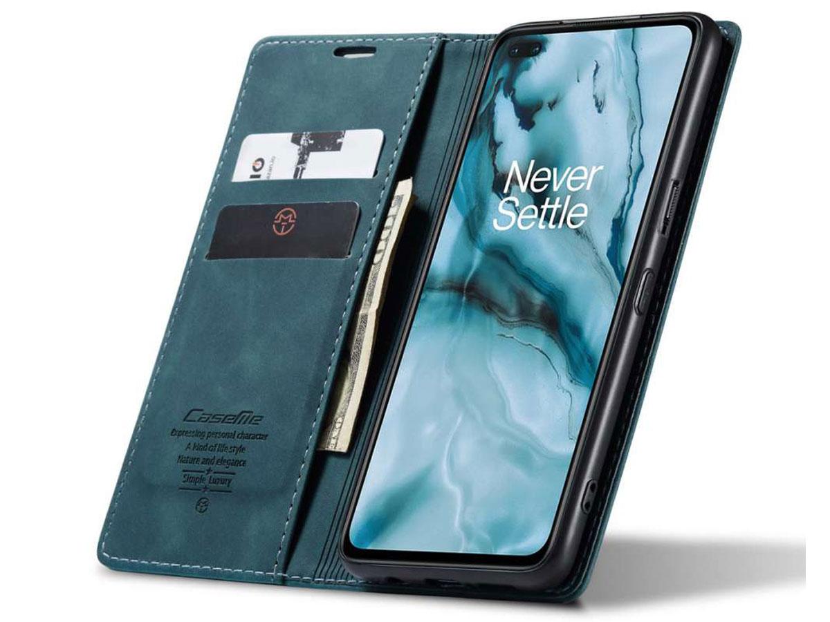 CaseMe Vintage BookCase Blauw - OnePlus Nord hoesje