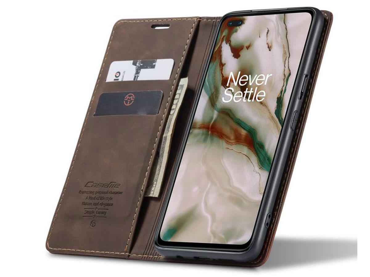 CaseMe Vintage BookCase Bruin - OnePlus Nord hoesje