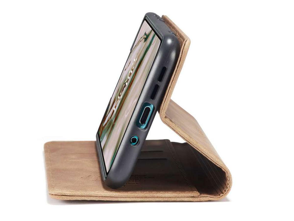 CaseMe Vintage BookCase Tan - OnePlus Nord hoesje