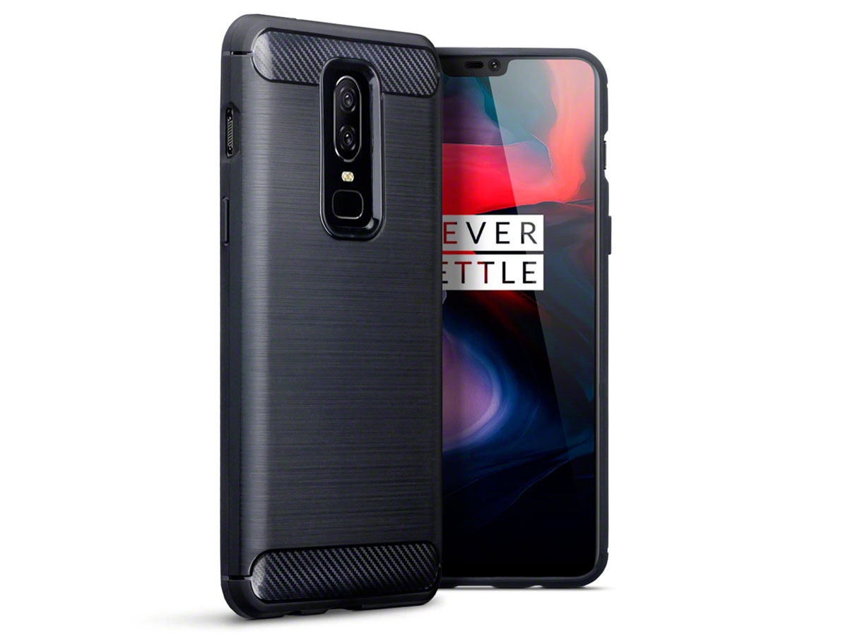 CaseBoutique Carbon TPU Skin - OnePlus 6 hoesje