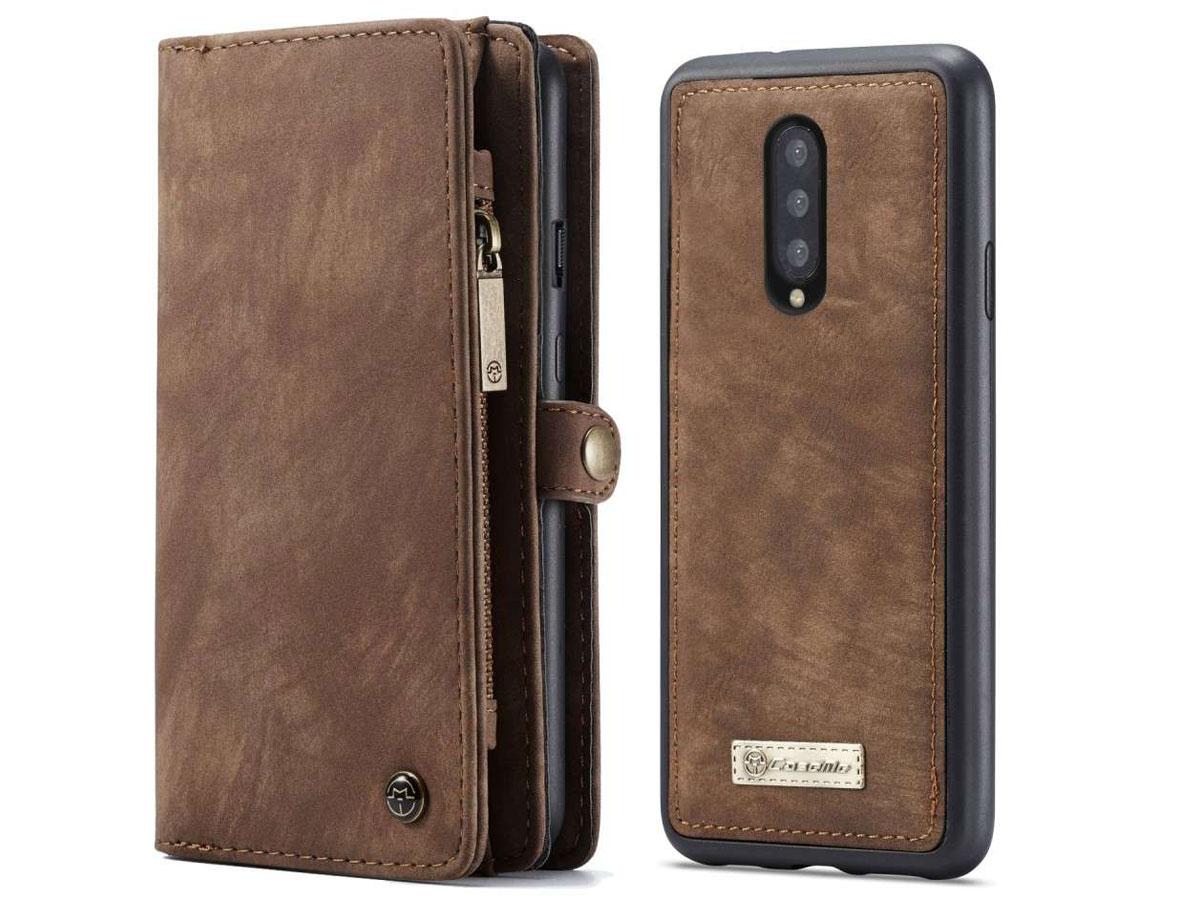 CaseMe True Wallet Case met Ritsvakje Bruin - OnePlus 7 Pro Hoesje