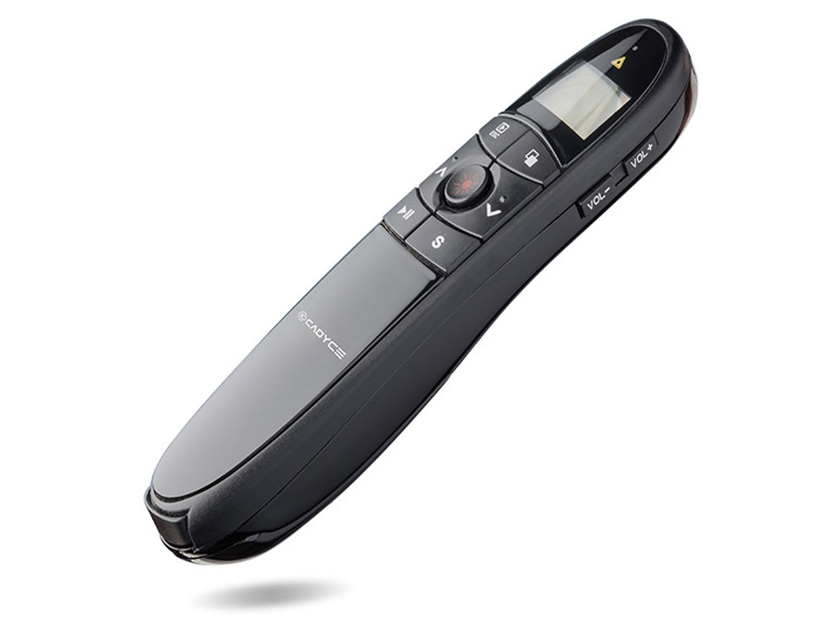 Cadyce Wireless Presenter Pointer met LCD Display Timer Zwart