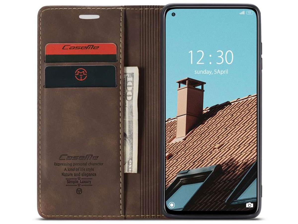 CaseMe Vintage BookCase Donkerbruin - Xiaomi Mi 10 Lite hoesje