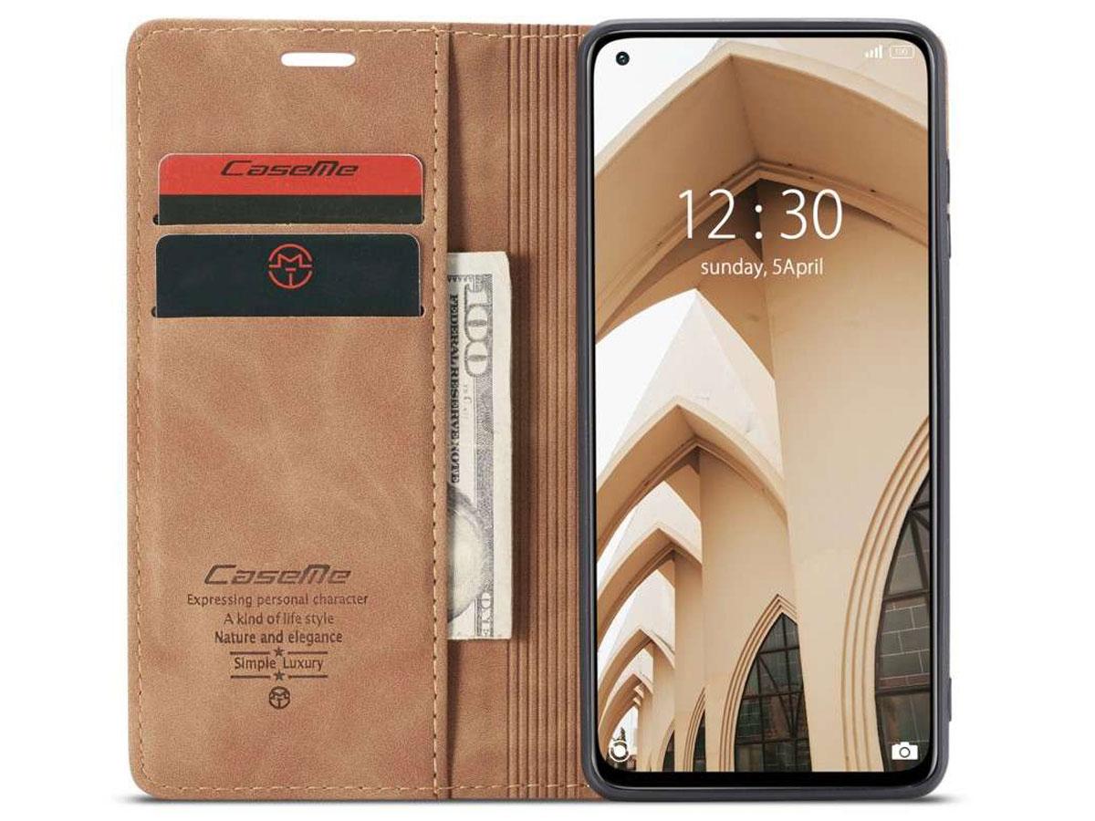 CaseMe Vintage BookCase Tan - Xiaomi Mi 10T (Pro) hoesje