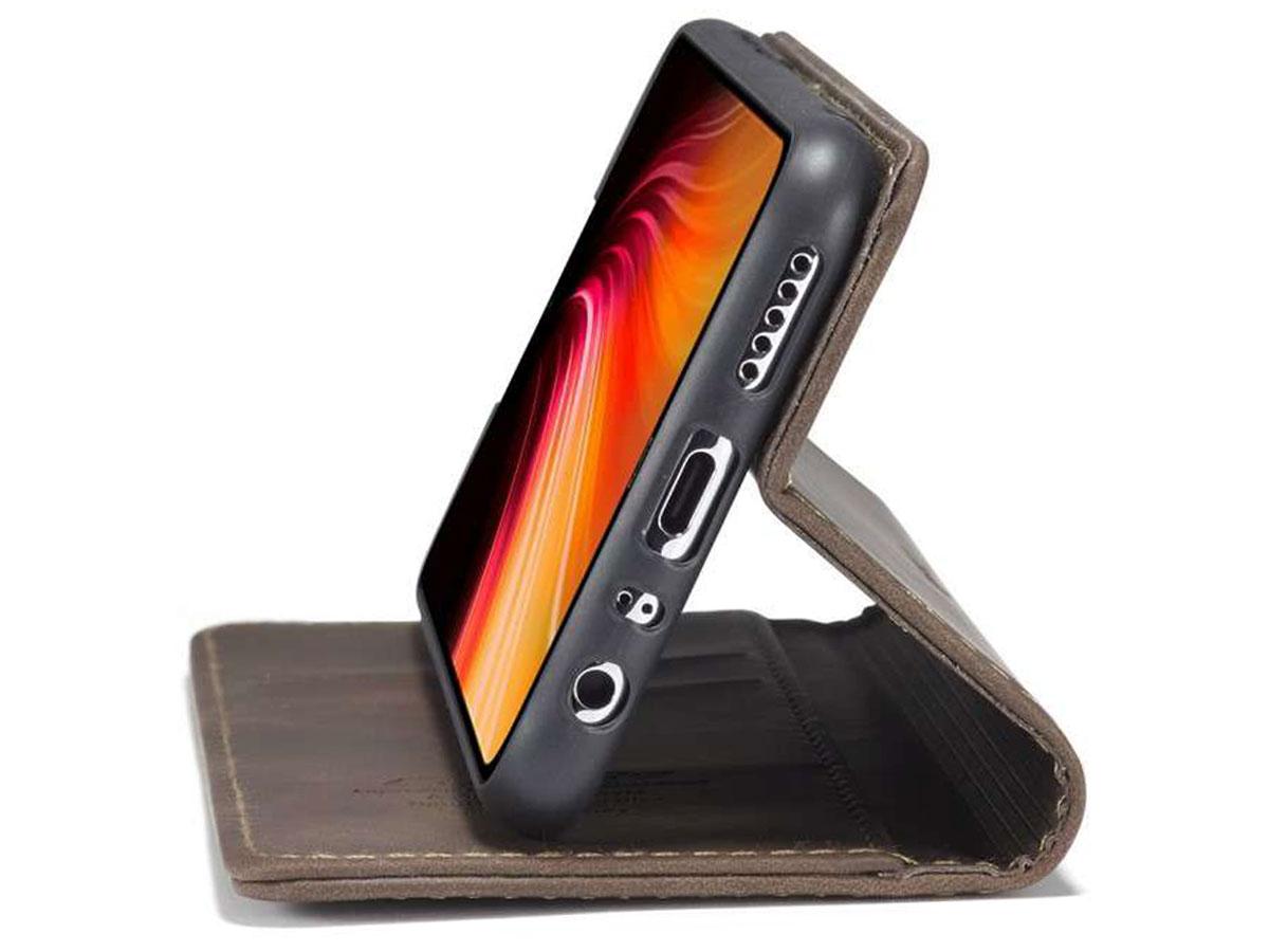 CaseMe Vintage BookCase Bruin - Xiaomi Redmi Note 8 hoesje