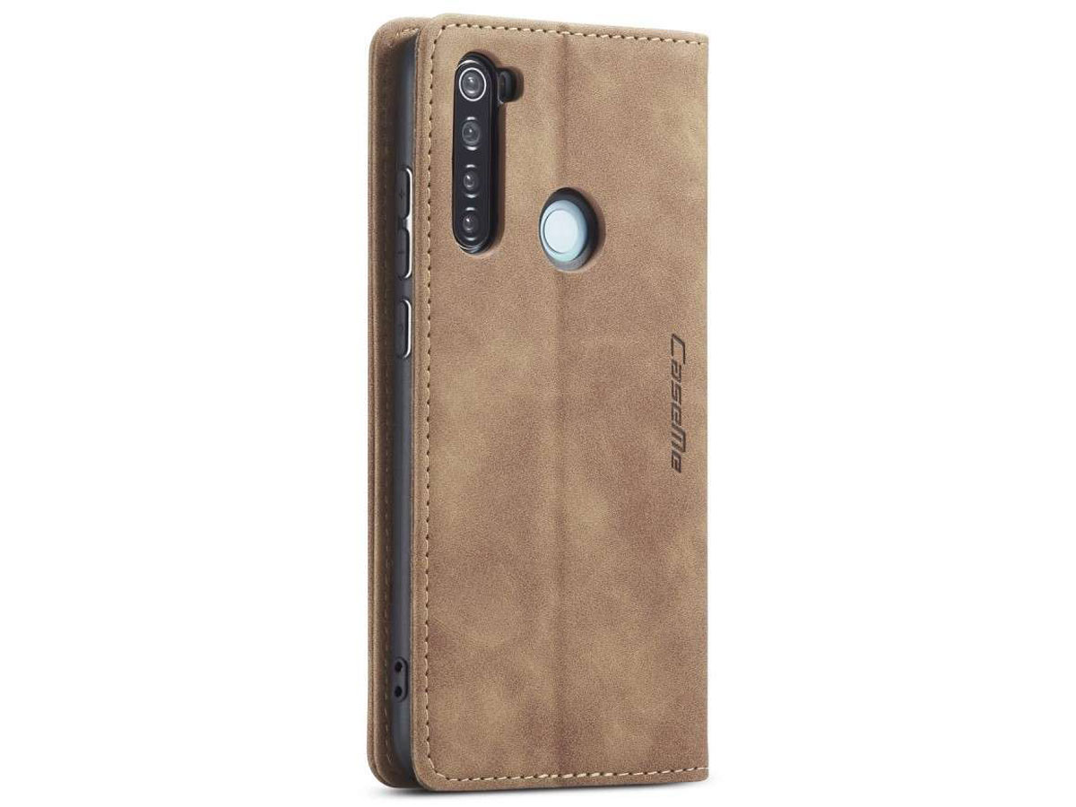 CaseMe Vintage BookCase Tan - Xiaomi Redmi Note 8 hoesje