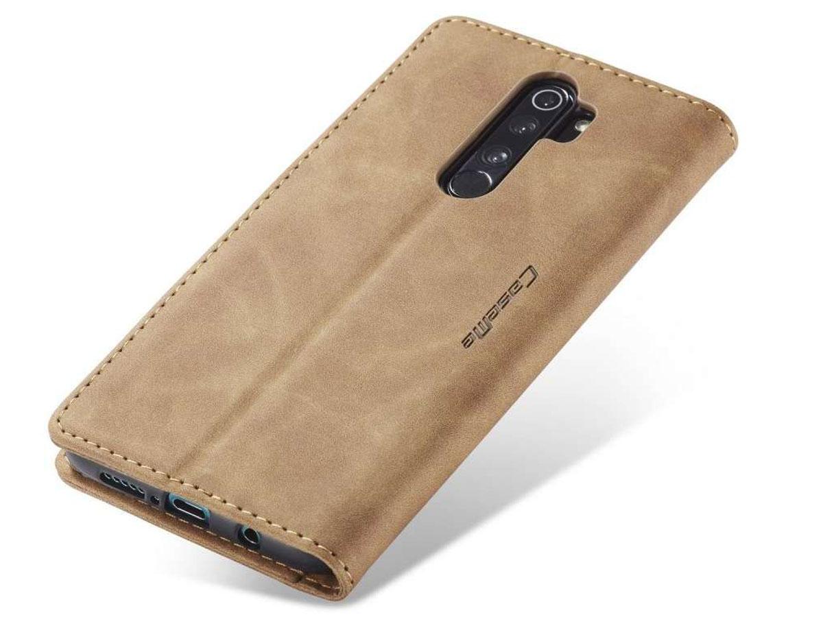 CaseMe Vintage BookCase Tan - Xiaomi Redmi Note 8 Pro hoesje