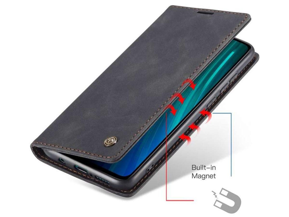 CaseMe Vintage BookCase Zwart - Xiaomi Redmi Note 8 Pro hoesje