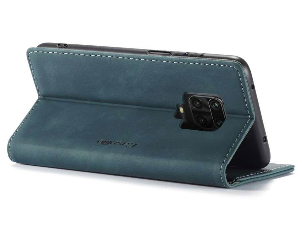 CaseMe Vintage BookCase Blauw - Xiaomi Redmi Note 9 Pro/9S hoesje