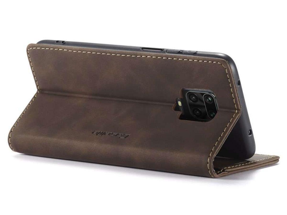 CaseMe Vintage BookCase Bruin - Xiaomi Redmi Note 9 Pro/9S hoesje