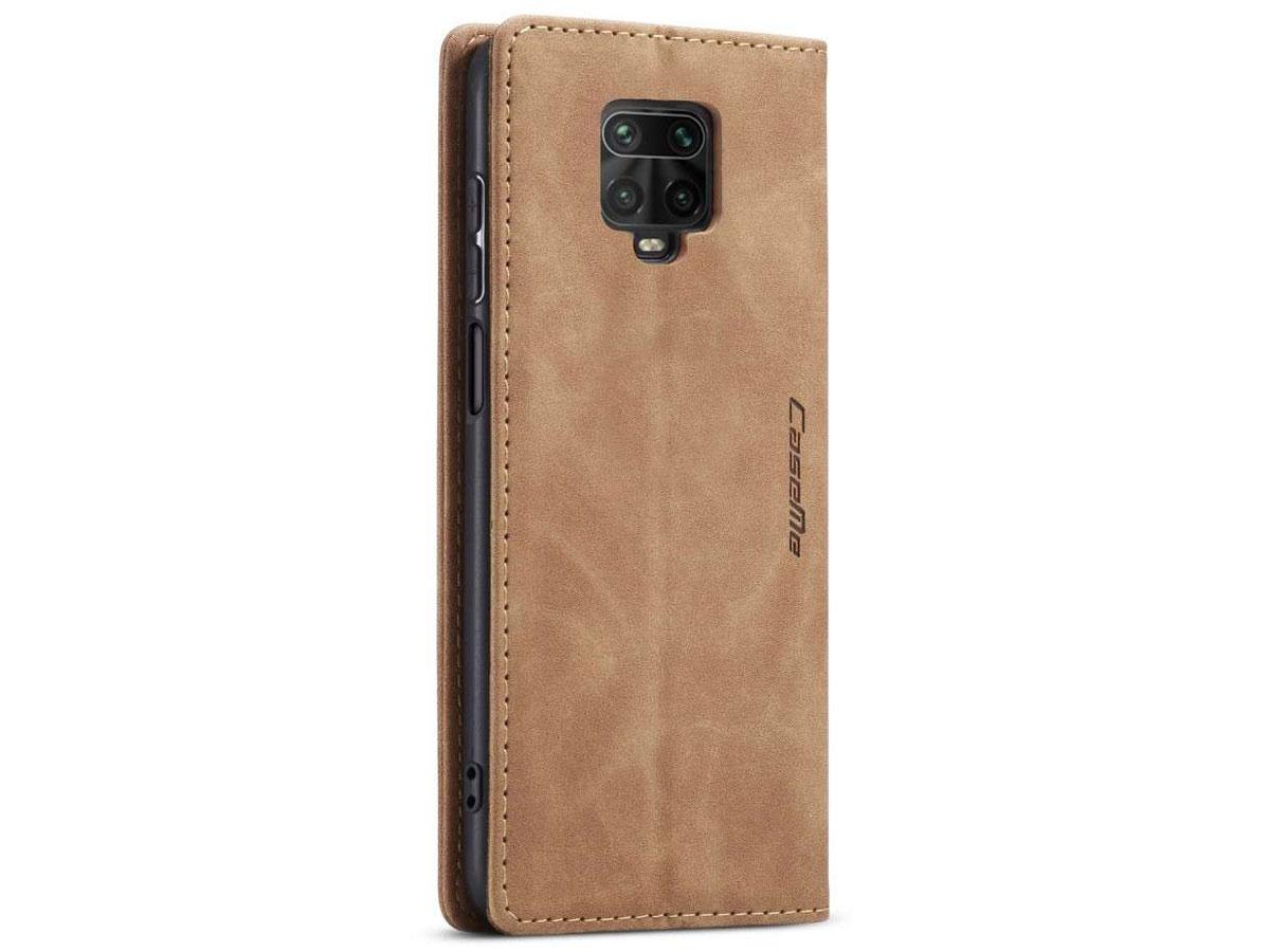 CaseMe Vintage BookCase Tan - Xiaomi Redmi Note 9 Pro/9S hoesje