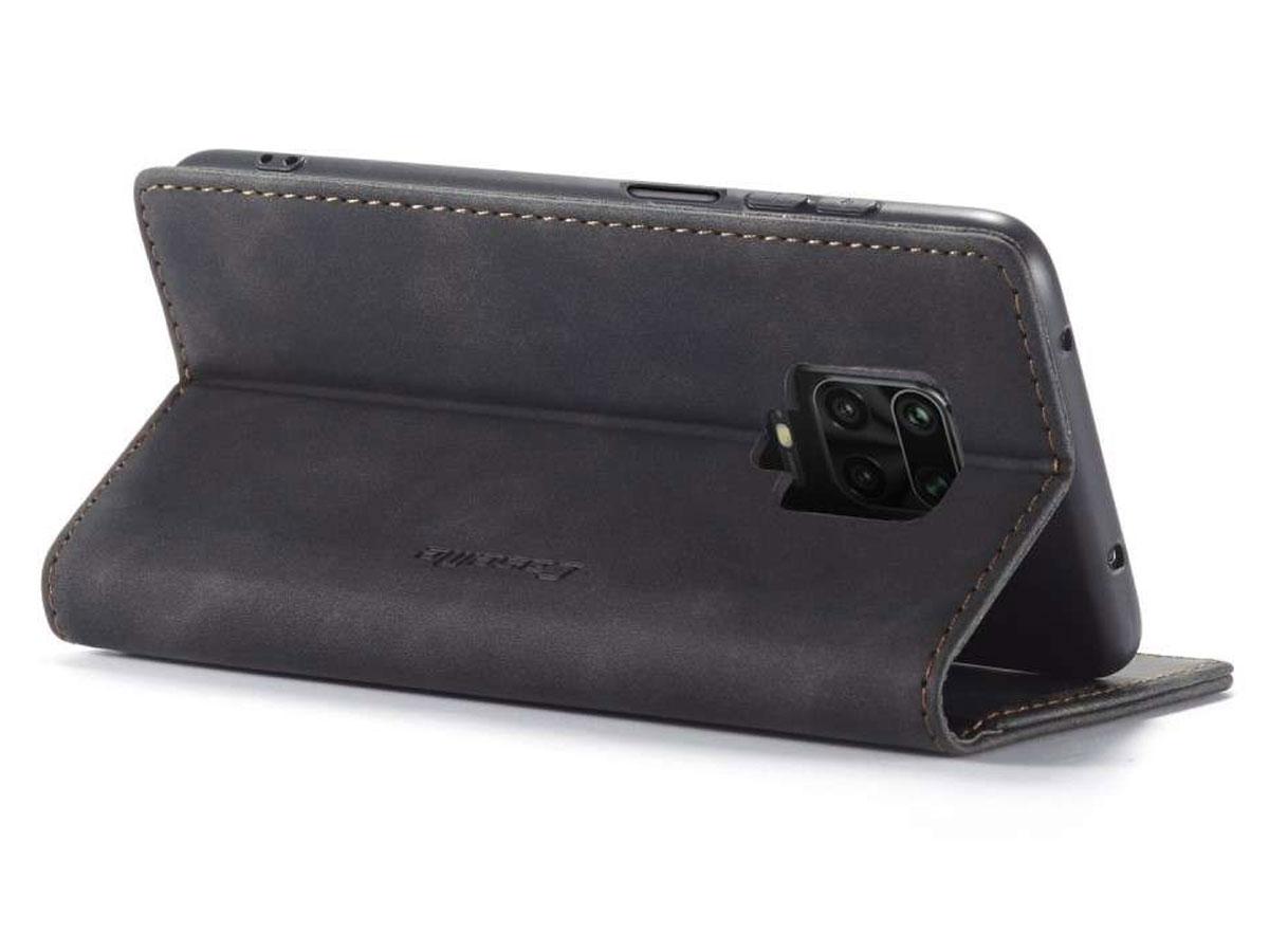 CaseMe Vintage BookCase Zwart - Xiaomi Redmi Note 9 Pro/9S hoesje
