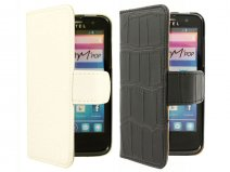 Croco Book Case Hoesje voor Alcatel One Touch M'Pop