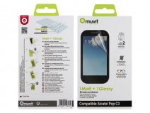 Muvit Screenprotector Glossy & Matte voor Alcatel One Touch Pop C3
