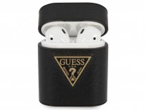 Guess Saffiano Case Zwart - AirPods 1 & 2 Case Hoesje