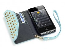 Covert Studded Pastel Trifold Wallet Case Hoesje voor iPhone 4/4S