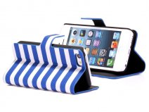 Striped Sideflip Wallet Case Hoesje voor iPhone 5C