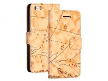 Antique Worldmap Sideflip Wallet Case Hoesje voor iPhone 5C