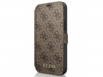 Guess 4G Monogram Bookcase Bruin - iPhone 12 Mini hoesje