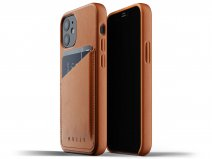 Mujjo Full Leather Wallet Case Tan - iPhone 12 Mini Hoesje Leer