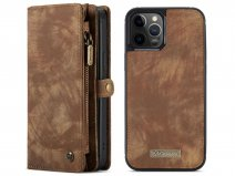 CaseMe 2in1 Wallet Case met Ritsvak Bruin - iPhone 12/12 Pro Hoesje