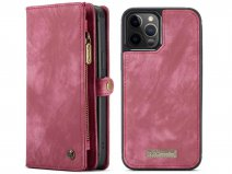 CaseMe 2in1 Wallet Case met Ritsvak Rood - iPhone 12/12 Pro Hoesje