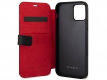 Ferrari Off Track Perforated Leather Bookcase Zwart - iPhone 12/12 Pro Hoesje