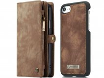 CaseMe 2in1 Wallet Ritsvak Case Bruin - iPhone SE 2020/8/7 Hoesje