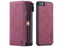 CaseMe Multi Wallet Ritsvak Case Rood - iPhone SE 2020/8/7 Hoesje