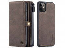 CaseMe Multi Wallet Ritsvak Case Bruin - iPhone 11/XR Hoesje