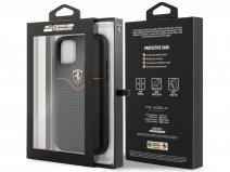 Ferrari Perforated Leather Case Zwart - iPhone 11/XR Hoesje
