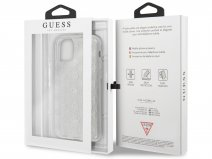Guess 4G Monogram Glitter TPU Case Zilver - iPhone 11 hoesje