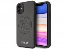 Guess 4G Saffiano Case Zwart - iPhone 11/XR hoesje