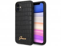 Guess Croco Case Zwart - iPhone 11/XR hoesje