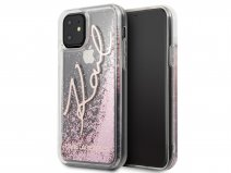 Karl Lagerfeld Signature Glitter Case Rosé - iPhone 11/XR hoesje
