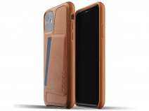 Mujjo Full Leather Wallet Case Tan Leer - iPhone 11 Hoesje