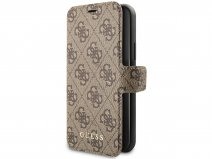 Guess Monogram Bookcase Bruin - iPhone 11 Pro hoesje