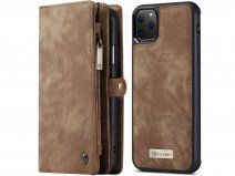 CaseMe 2in1 Wallet Ritsvak Case Bruin - iPhone 11 Pro Max Hoesje