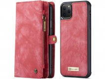 CaseMe 2in1 Wallet Ritsvak Case Rood - iPhone 11 Pro Max Hoesje