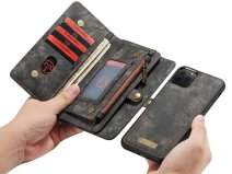 CaseMe 2in1 Wallet Ritsvak Case Zwart - iPhone 11 Pro Max Hoesje