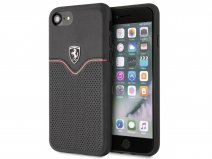 Ferrari Perforated Leather Case Zwart - iPhone SE 2020 / 8 / 7 / 6(s) hoesje