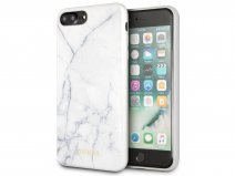 Guess Marble HD Glass Case Wit - iPhone 8+/7+/6+ hoesje