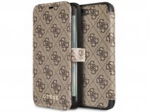 Guess Monogram Bookcase Bruin - iPhone 8+/7+/6+ hoesje
