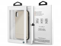 BMW Logo Leather Case Taupe - Leren iPhone X/Xs hoesje
