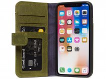 Decoded Drop Protection Wallet Groen Leer - iPhone X/Xs Hoesje